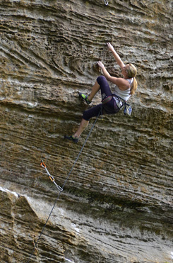 Michaela Kiersch sending Last of the Bohicians (5.13d), Red River Gorge, KY