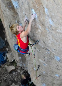 "Cameron Hörst sending ""FdA"" (5.14a), Ten Sleep, WY"