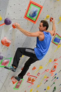 Carlo Traversi bouldering at the grand opening of NICROS latest VE gym in Glendale Heights, IL.
