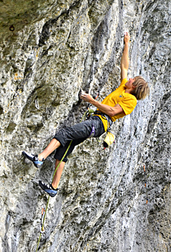 One of the head-strongest climbers in the world, Alex Megos, crushing in the Frankenjura. Hörst photo.