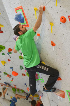 Kevin Jorgeson bouldering at Vertical Endeavors, Glendale Heights, IL.